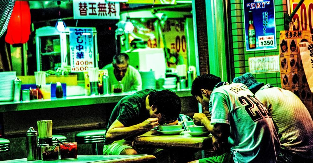 Men Rear View Person Casual Clothing Green Color Man Made Object Collection Night Tokyo City Life Culture
