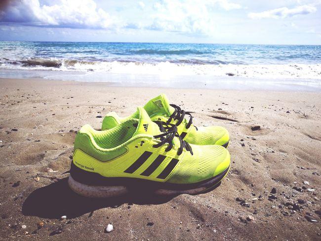 Running everywhere... Beach Sea Tranquility Wave Summer Running Running Shoes Adidas Adidas Superstar First Eyeem Photo