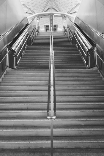 Low angle view of empty staircase at subway station