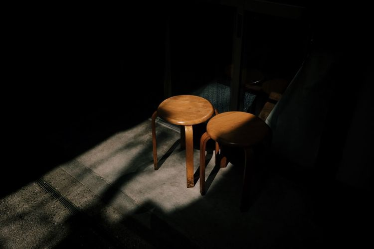 Absence Chair Copy Space Dark Domestic Room Empty Flooring Furniture Indoors  Nature No People Relaxation Seat Shadow Solitude Sunlight Table