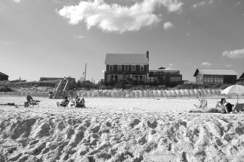 No place better Landscape Summer Black And White Beach Life Beach Photography New York Xpro2 Fujifilm_xseries Photographyisthemuse Architecture Building Exterior Built Structure Sky Real People Cloud - Sky Domestic Animals Outdoors Sand Day Nature People Lifestyles