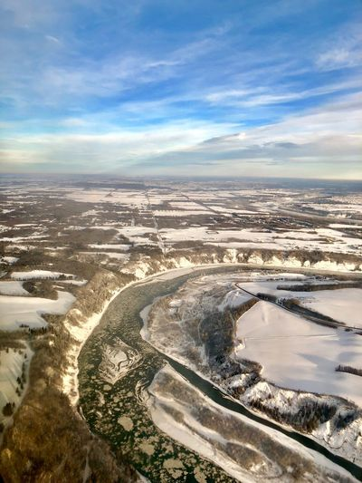 North Saskatchewan River Aerial Ice River Cloud - Sky Sky Beauty In Nature Water Nature Tranquil Scene Environment Landscape Outdoors