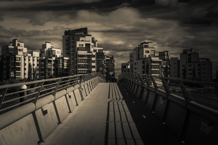 the bridge to the residential area Sweden Västerås Architecture Black And White Bridge Building Exterior Built Structure City Cityscape Cloud - Sky Day Light And Shadow Modern No People Outdoors Railing Residential Area Sky Skyscraper Travel Destinations Urban Skyline