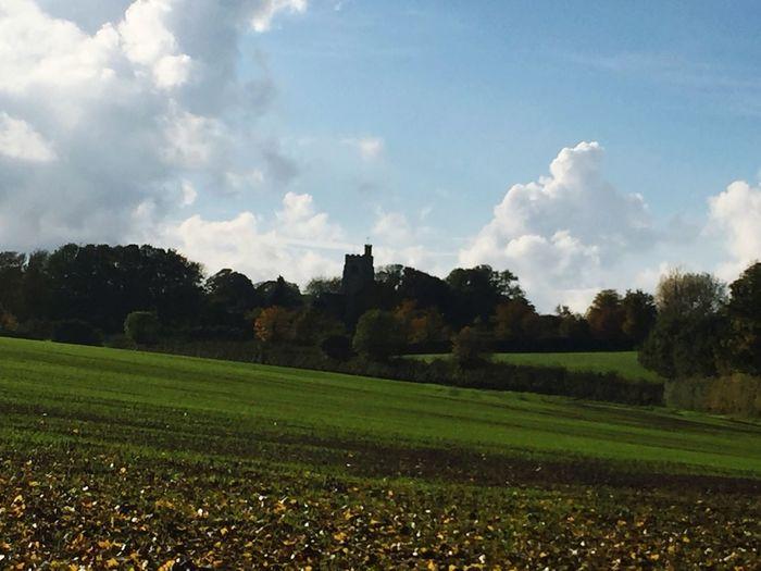 English Countryside Church Fieldscape