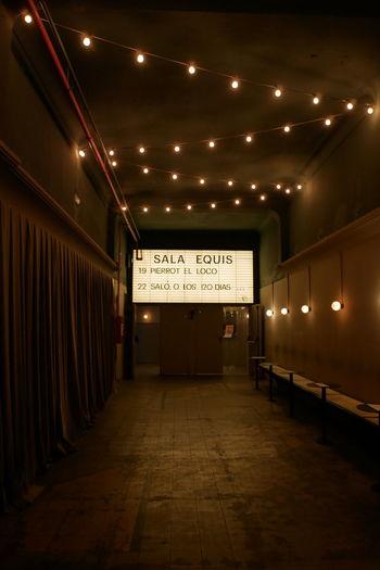 Cinema Corridor Illuminated Indoors  Lighting Equipment Night No People Old Text
