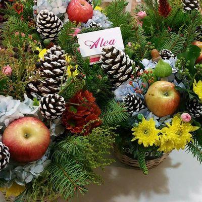 Piensas en unas navidades llenas de color? Cesta navideña 15 € . Alea Conceptstore Navidad Xmas Cestanavideña Alefloristerias
