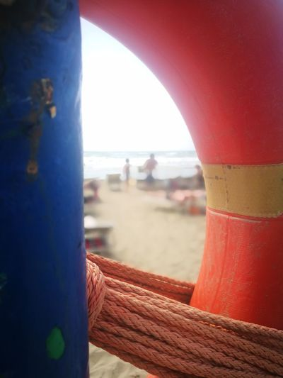 Save me Save Beach Guard Corners Point Of View Water Sea Red Sunlight Sky Close-up Shore Sandy Beach Beach EyeEmNewHere