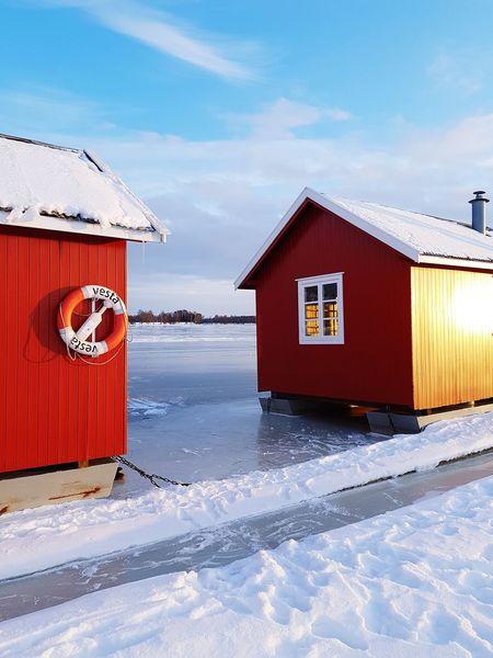 Winter Norway Fetsund Nordic Hut Water Ice Ice On The Water Idyllic Sunday Walk Vesta