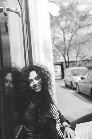 Black And White Curly Hair Mood Portrait Street Woman
