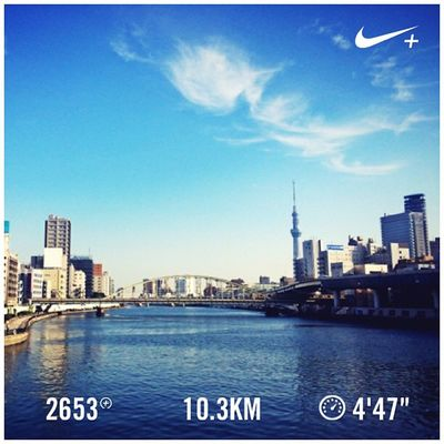 Running Nike Run Skytree スカイツリー GYAKUSOU Nikeplus 隅田川 ランニング Sumida 両国橋 隅田川テラス ラン 親水テラス