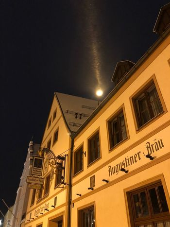 Augustiner Architecture Building Exterior Built Structure City Illuminated Low Angle View Night No People Outdoors Sky