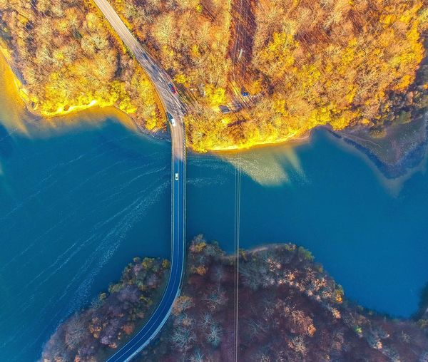 DJI Spark bird's eye view 👀 Nature_collection Naturelovers Nature Photography Landscape Dji DJI X Eyeem Drone  Dronephotography Dji Spark Getty+EyeEm Collection Getty Images EyeEm Selects EyeEm Best Shots EyeEm Gallery Reservoir Way Bridge Nature Water No People Outdoors Sea Day Underwater Yellow Aerial View Beauty In Nature Blue Sunlight