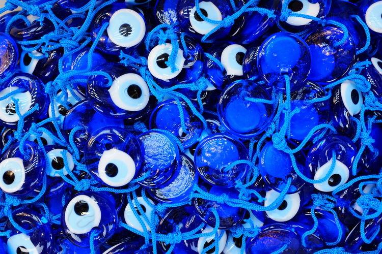 Blue evil eyes.