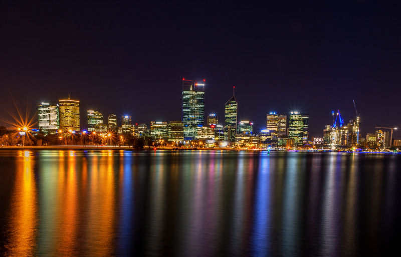 City of Perth Skyline Perth Australia Architecture Building Building Exterior Built Structure City Cityscape Financial District  Illuminated Landscape Nature Night Nightlife No People Office Building Exterior Outdoors Reflection River Sky Skyscraper Urban Skyline Water Waterfront