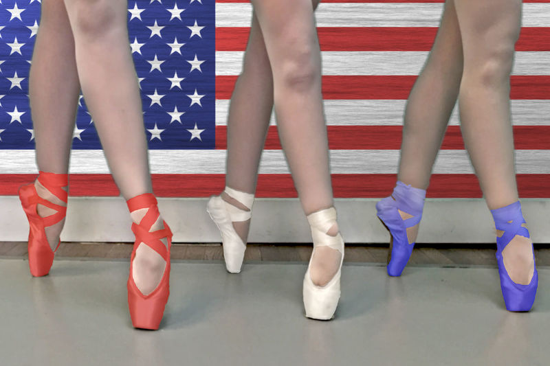 Independence Pointe America American Flag Ballerinas Ballet Blue Flooring Footwear Fourth Of July Georgia Metropolitan Dance Theater Human Foot Low Section Marietta Marietta Square, USA, Georgia Patriotic Pointe Shoes Red Red White And Blue White