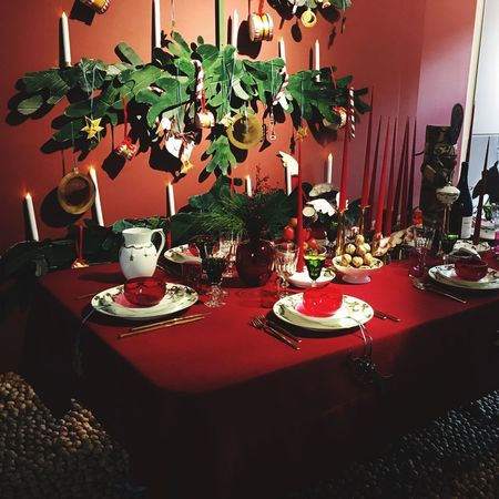 Dinner Is Served!!! Christmas Dinner Evening Dinner Table Is Set Table Is Ready Plates On A Table Red Cloth Christmas Decoration Christmas Lights Copenhagen Denmark 🇩🇰🇩🇰🇩🇰 Table Indoors  Home Interior No People Place Setting Food And Drink Plate Dining Table Food Chair Home Showcase Interior Illuminated