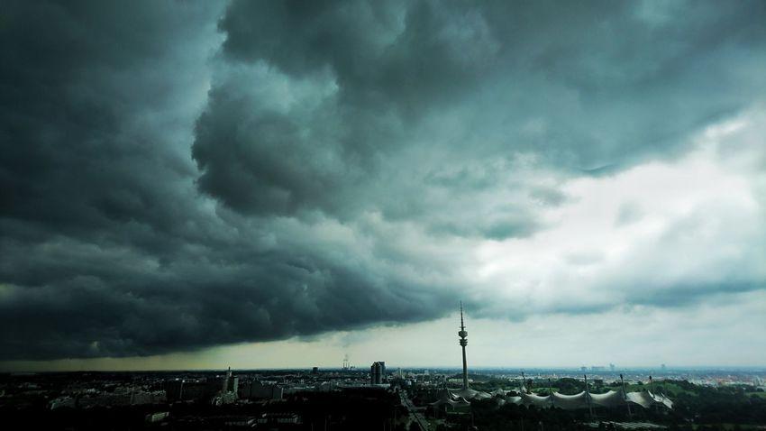 Taking Photos Weather Storm Cloud Rainy Days Sky And Clouds Sky Porn Stormy Weather Stormy Sky Heavy Clouds Olympiaturm Munich HBoB Officeview