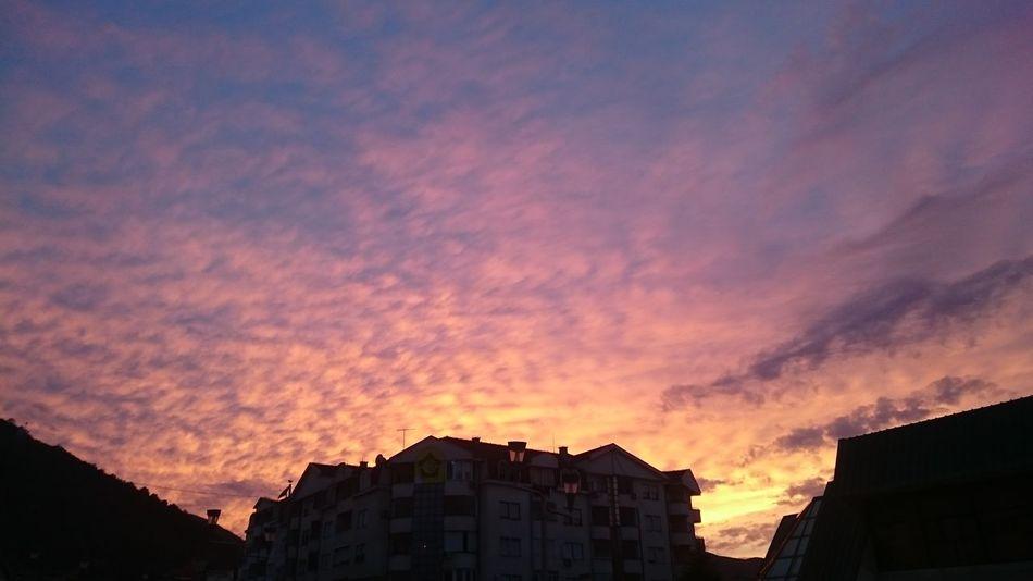 Skyporn Cloudporn Sky Clouds Clouds And Sky Pink Yellow Pinksky Pinksunset Yellowsky Yellowsunset Blue Sky Landscape Building