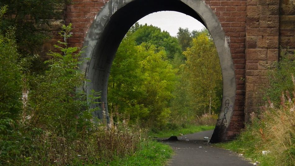 Vandalised Vandalized Underpass Footpath Urban Walk Archway Red Brick Wall Brick Outdoors Path Public Space Bridge - Man Made Structure Brickwork  Horizontal Colour Image Day Trees Bushes Concrete Tarmac No People Litter Grass