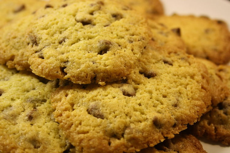 Close-up of chocolate chip cookies on plate