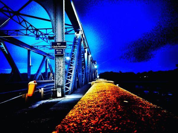 Zdjęcianiespodziewane Toruń Niebo Niebieski Blue Sky Toruń Illuminated Bridge - Man Made Structure Water Blue Sky Architecture Built Structure My Best Travel Photo