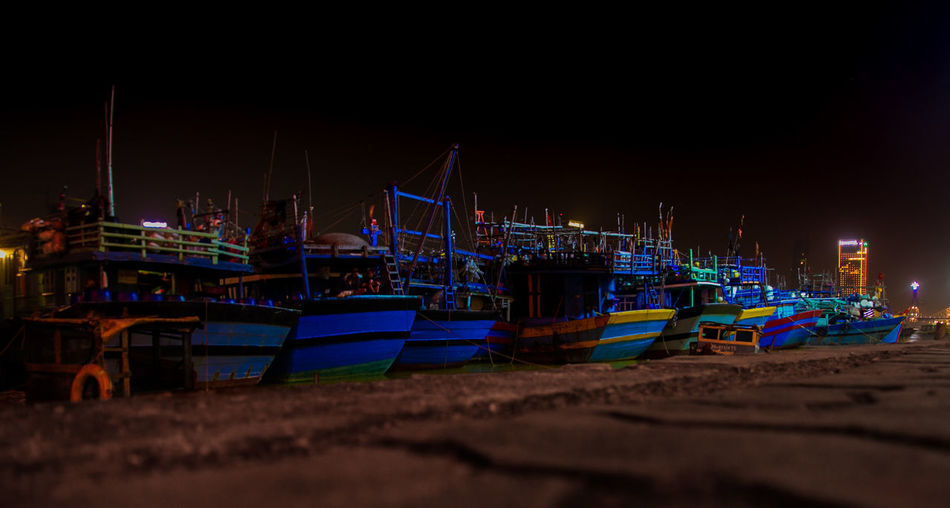 Blue Boats. Da Nang, Vietnam. ASIA Backpacker Backpacking Beauty In Nature Boat Boats Explore Exploring Harbor Nature Night Outdoors Sea Seascape Seaside Seemann Ships Ships At Sea Shipyard Sky Travel Travel Destinations Travelling Water World