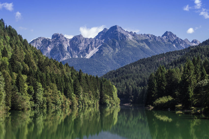 Mountain Lakeside Blue Blue Sky Canon Forest Green Color Italy Lake Lakeside Landscape Majestic Mountain Nature Reflection Scenics Sky Sky And Clouds Tree Water