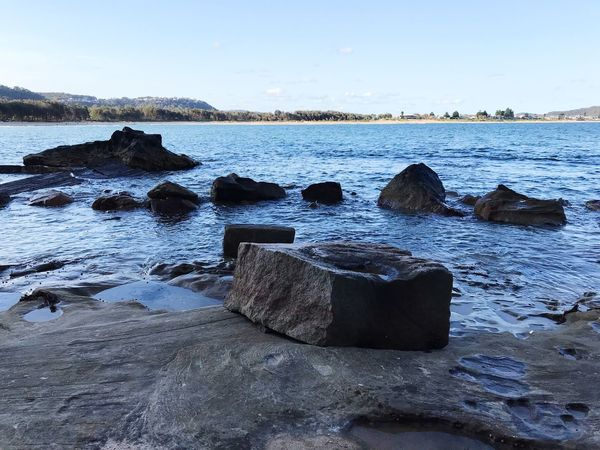 Water Beach Sky Land Sea Tranquility Nature Scenics - Nature Tranquil Scene Beauty In Nature Day Rock - Object Rock No People Outdoors Solid