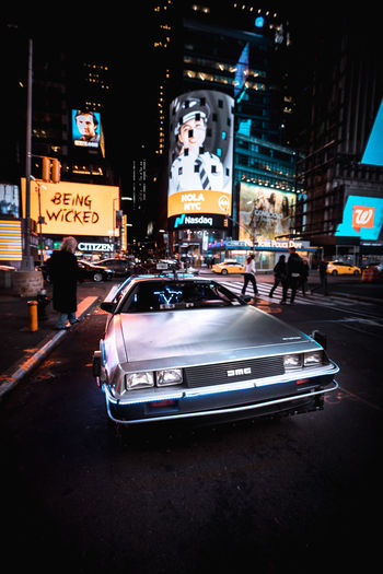 Back to the future Backtothefuture Delorean New York City Tones Car Memories City Illuminated Nightlife Car City Life Road City Street Land Vehicle Architecture Times Square - Manhattan Office Building Traffic High Street