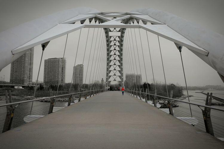 """We build too many walls and not enough bridges"" -Isaac Newton Bridge Quoteoftheday Quotes Toronto Bridge Porn Coloursplash Toronto Ontario Mimico Fog Mornings"