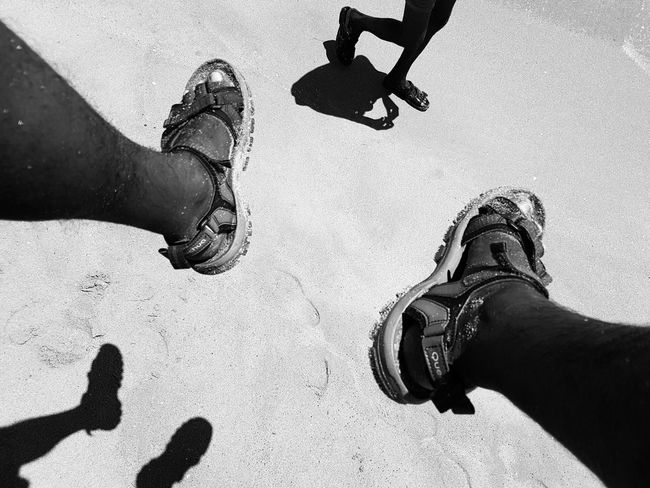 Low Section Human Leg Human Body Part Human Foot Real People Sand High Angle View Day Two People Shadow Outdoors Sunlight Men Only Men Sandlwalking Walking Streetphotography Beach