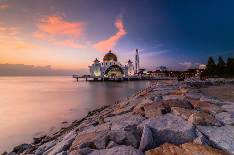 View of selat mosque at sunset