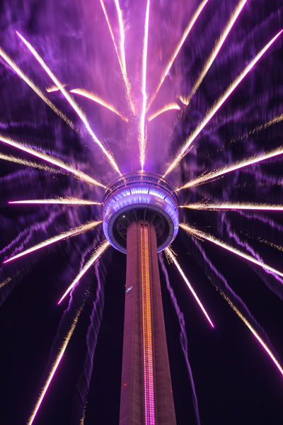 CN Tower Canada Day 2017 Fireworks Night Lights Toronto Built Structure Explosion Of Color Illuminated Low Angle View Night Outdoors