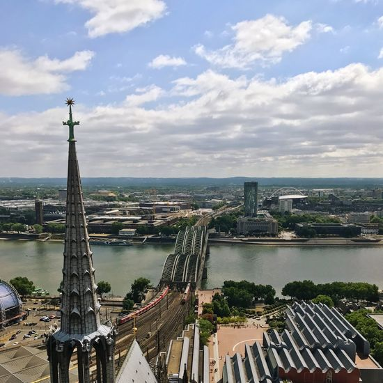 Tower Hohenzöllern Bridge Hohenzollernbrücke Cologne Cathedral Cologne Rhine River Architecture Built Structure Sky Cloud - Sky High Angle View Water Building Exterior City Day Cityscape No People Bridge - Man Made Structure Travel Destinations River Outdoors