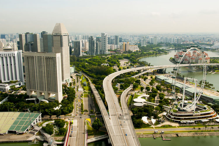 Esplanade Bridge Singapore City Esplanade Bridge Transportation Cars