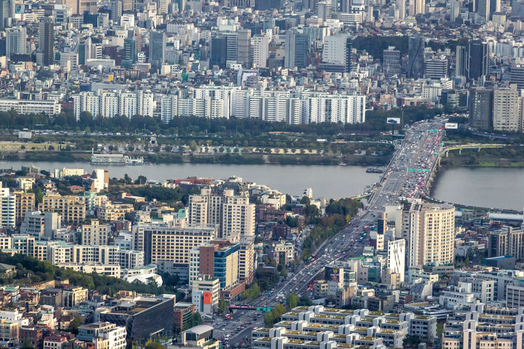 High angle view of city of seoul with han river