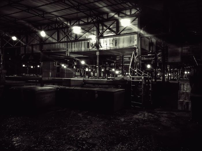 Silent Night at Fish Market Blackandwhite Illuminated Night Built Structure Architecture No People Indoors
