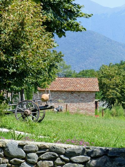 Small house in a bucolic green landscape with mountains in distance in Georgia. Georgia Architecture Bucolic Building Exterior Built Structure Countryside Day Grass Green Color Growth House Landscape Mountain Nature No People Outdoors Plant Roof Roof Tile Stone Wall Summer Sunny Day Travel Destinations Tree Wooden Cart