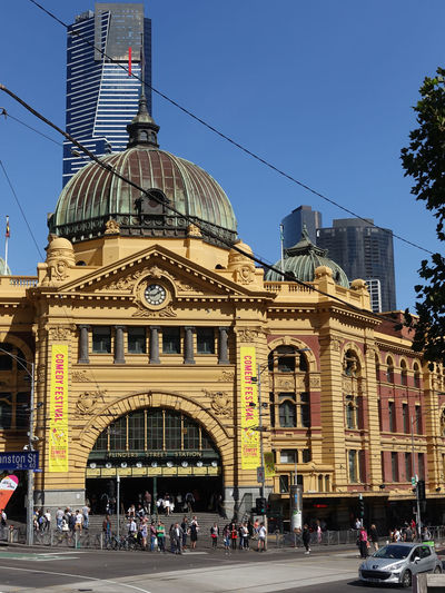 Flinders Street Railway Station, Melbourne Architecture Built Structure Building Exterior City Sky Building Travel Destinations Group Of People Travel Tourism Clear Sky Large Group Of People Nature Crowd Day Real People Transportation Women City Life Office Building Exterior Skyscraper Flinders Street Station