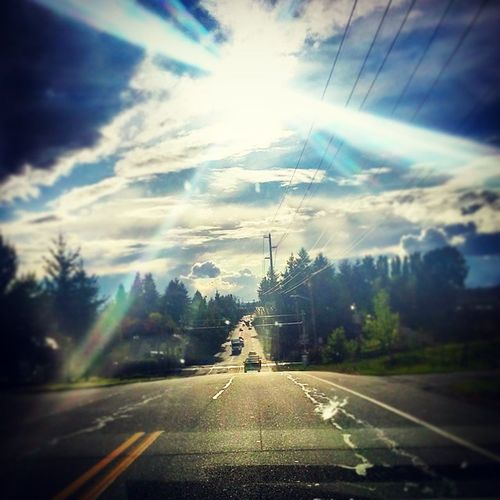 On the way home from Mount Vernon Sunny Clouds Trees QuickPhotoWhileDriving Badhabbit OhWellItLooksDope Worthit HellaWorthIt