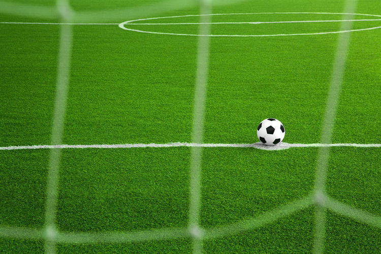 Soccer American Football Field Ball Day Foot Football Game Goal Goals Grass Grass Green Color Keeper Kick Nature No People Outdoors Penalty Soccer Soccer Field Soccer Life Sport Stadium Studio Textured  Yard Line - Sport