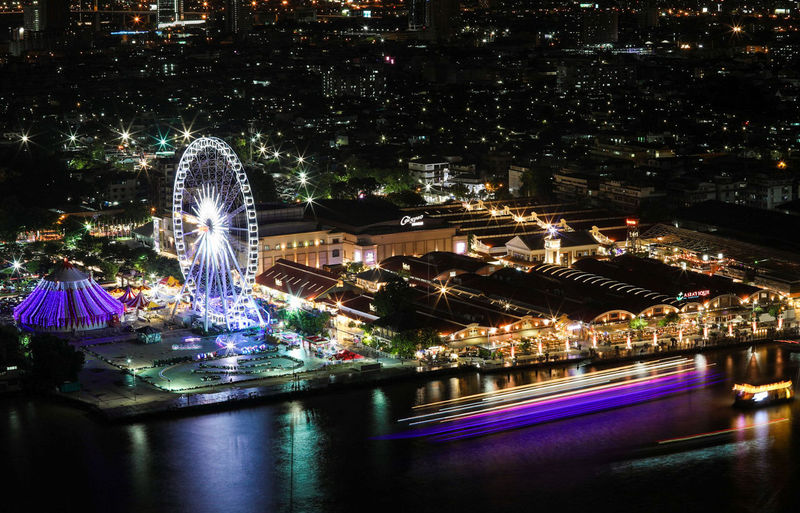 Asiatique the river front at night. ASIA Asiatique The Riverfront Thailand Bangkok Night Copy Space Travel