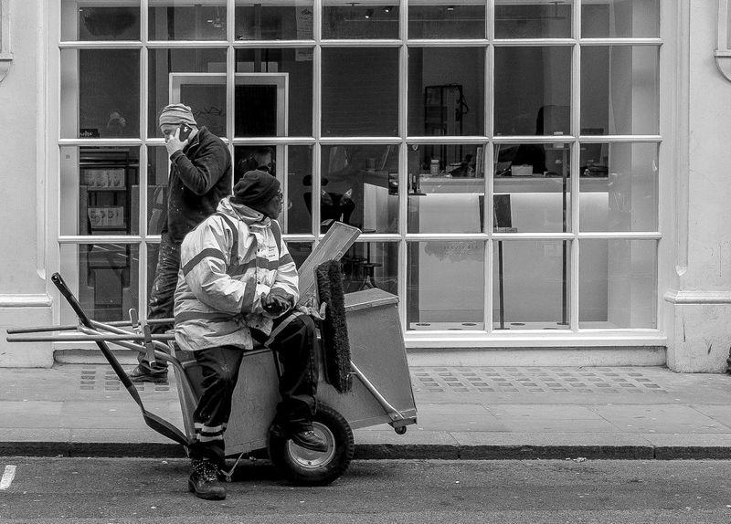 Having a rest, Soho, London Black And White Blackandwhite Monochrome Urban FUJIFILM X-T2 Street Cleaner Real People Street City