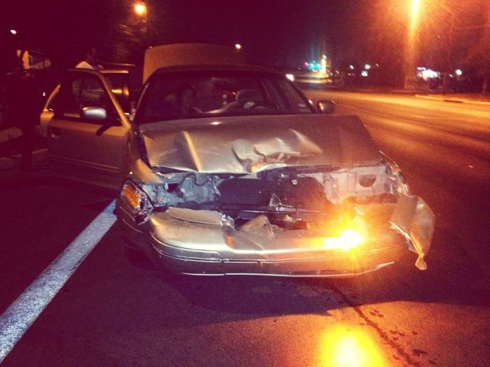 My sister's car after the wreck last night. Thank god she's alive and okay. The car can be replaced but her, never.
