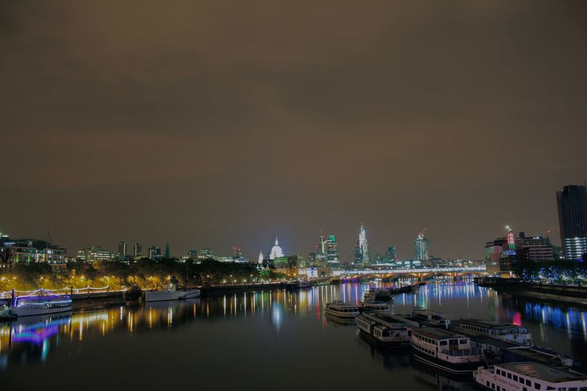 Architecture Illuminated London London At Night  Night Reflection Reflections River River Thames Sky Skyline The City Travel Destinations Water Water Reflections Waterfront
