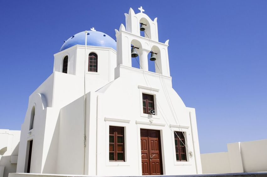 Architecture Blue Building Exterior Built Structure Church Clear Sky Day Low Angle View Outdoors Place Of Worship Religion Santorini Santorini Greece Santorini, Greece Spirituality Sunlight Travel Travel Destinations Travel Photography Traveling White Color
