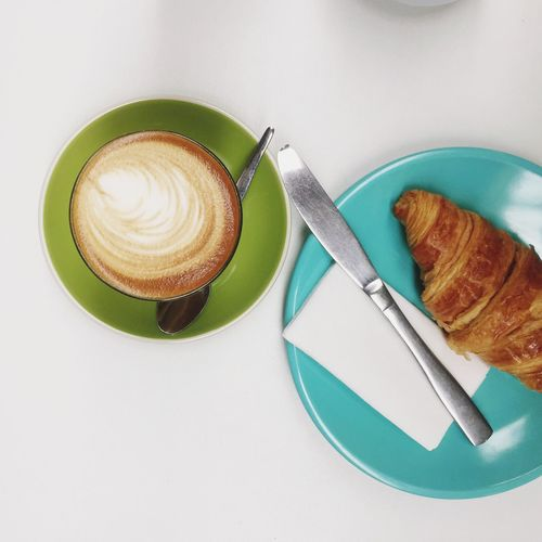 Coffee Cup Food And Drink Coffee - Drink Still Life Croissant Freshness Plate Table Food Breakfast Cappuccino Indoors  High Angle View No People Drink Refreshment Ready-to-eat Frothy Drink Serving Size Close-up