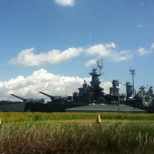 U.S.S. North Carolina Battleship. Ussnorthcarolina Battleship Memorial Nearwilmington onthewayhome carride scenery marsh alligators clouds sky blue ship green grass cannons guns yellow itouch camera