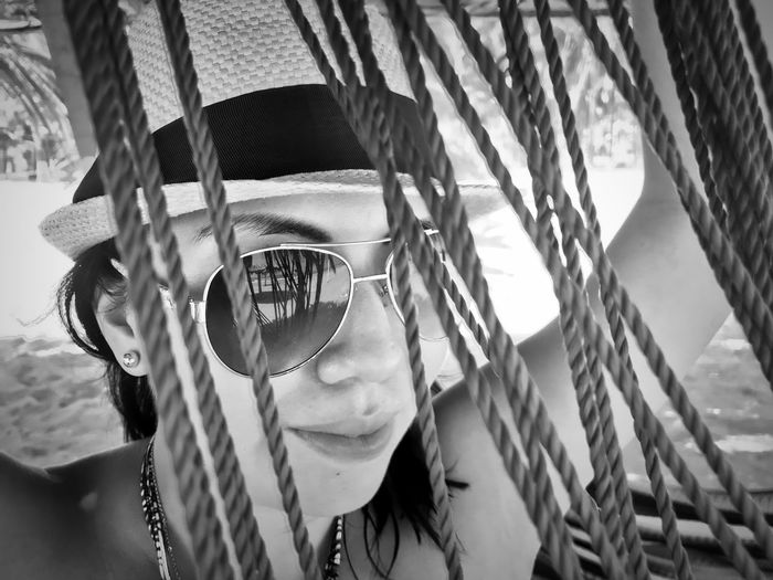 Chain Close-up Day Females Focus On Foreground Front View Glasses Headshot Human Face Leisure Activity Lifestyles Looking At Camera One Person Outdoors Playground Portrait Real People Sunglasses Women Young Adult The Portraitist - 2018 EyeEm Awards