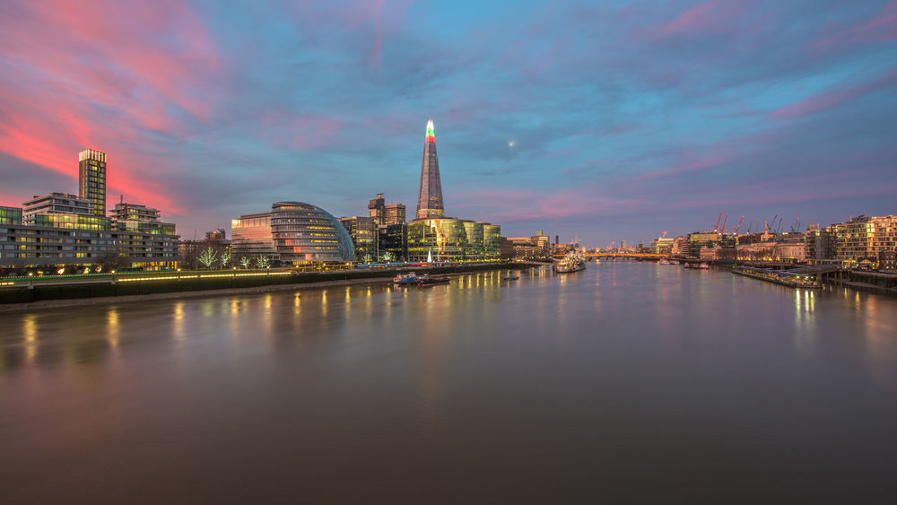 Capital Cities  Cityscape Colorful December Dramatic Sky England Europe Famous Place Landmark London Long Exposure Morning The City Light Panorama Reflection River Thames The City The Shard Uk United Kingdom View Water Www.benjaminvanderspek.com Landscapes With WhiteWall London Lifestyle